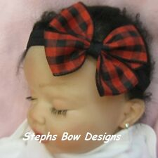 "3"" PLAID RED & BLACK CHRISTMAS  DAINTY HAIR BOW SOFT & STRETCHY HEADBAND"