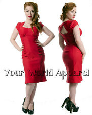 STEADY CLOTHING RED ALLISON WIGGLE DRESS PINUP SWING  DRESS VINTAGE ROCKABILLY