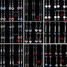 More Styles 12 Pairs Earrings Dangle Colorful Rhinestone Crystal Wholesale Gift
