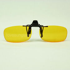 HD night driving vision sun glasses yellow lens flip up clip on shoot new mp75v2