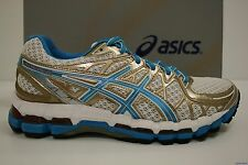 NEW Asics Gel Kayano 20 Women's Running Shoes WHITE/ISLAND BLUE/GOLD NEW IN BOX