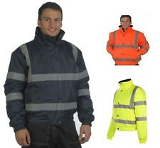 Hi Viz Waterproof Padded WORKWEAR Bomber Jacket IN NAVY & BLACK sIZES S-XXL