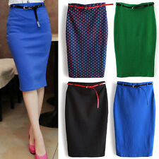 Women Office Fitted Slim High Waisted Belted Pencil Skirt Stretch Knee Length