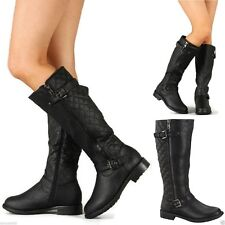Women military motorcycle leather Knee High Buckles Zipper Ridding Boots black