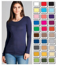 Active Basic WHIMSY Long Sleeve Layering T TEE SHIRT Crew Neck Misses/Plus Size