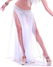New Belly Dance Costume 2 Layers & 2 Side Slits Bead Edge Skirt/Dress 10 colours