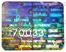 LARGE Security Hologram NUMBERED Labels, 26mm x 20mm, Warranty Stickers Xbox PS3