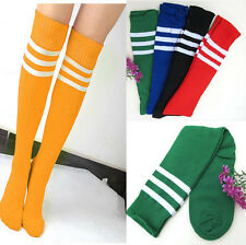 US CHEAP Stripe Knee High Tube Cotton Socks Sport Soccer Football Running Podium