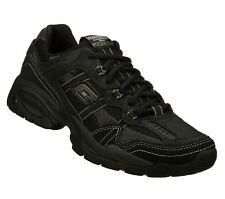 51359 BLACK SKECHERS SHOES MEN NEW ATHLETIC WALK SPORT TRAINING LEATHER SNEAKER