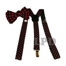 PINK Polka Dots On Black Adjustable Bow tie And Suspenders Set-New Tuxedo Formal