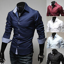 Mens Luxury Casual Stylish Slim Fit Dress Long Sleeve Shirts Tops 5Colors 4Sizes