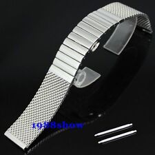 New Shiny 20 22 mm Stainless Bracelet Butterfly Diving Strap Watch Mesh Band