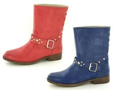Ladies Down To Earth Biker Style Mid Calf Boots with 1 Strap & Stud Detail F5843