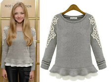 Sweet Beauty Womens Slim Fit Falbala Pullover Knitting Wool + Lace Sweater Tops