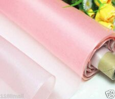 By 0.5 Yard 100% Pure Silk Organza Fabric Material Pink Sheer Light Weight Thin