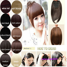 New Fashion Clip On Front Hair Bang Fringe Hair Extension Straight Lady Cuteness