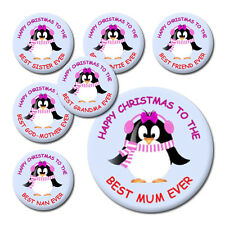 FAMILY CHRISTMAS PENGUIN BADGES & MAGNETS - CHRISTMAS STOCKING FILLERS & GIFTS