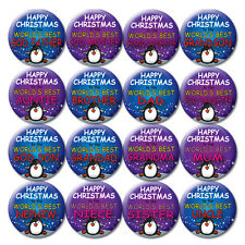 FAMILY CHRISTMAS BADGES/MAGNETS - 58mm - CHRISTMAS STOCKING FILLERS & GIFTS