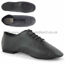 Black Leather Split Sole Jazz Shoes Girls Childs Ladies Mens By Dance Gear 2JSSB