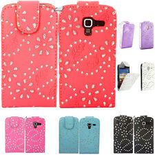 LEATHER FLIP DIAMOND DIAMANTE BLING CASE COVER FOR SAMSUNG GALAXY Ace 2 I8160