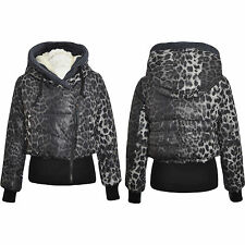 Womens Cropped Jackets Animal Leopard Coat Faux Fur Hooded Bomber Jacket 8 10 SM