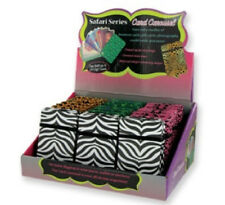 Animal Print Safari Print Card Carousel Fans Out Hold 20 Cards New! Great Gift!