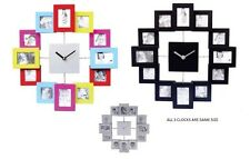 MODERN 12 MULTI PHOTO PICTURE FRAME & TIME WALL CLOCK FAMILY-TIME GIFT BN