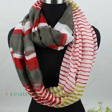 Fashion Women's Striped Infinity Scarf Loop Cowl Circle Casual Lady Voile Scarf