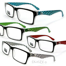DG EYEWEAR Checker Pattern Retro Style Reading Glasses 125-300 4 Colors Choice