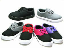 New Youth Boys Girls Lace Up Lo Top Canvas Shoes Walking Comfort Sz 10-4