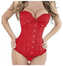Red Burlesque Classical Satin Lace Up Corset Basque Wedding Dress/Party Gown