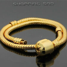 Gold Plated Snake Chain Charm European Bracelets - 16-23cm Beads Clasp DIY 10pcs