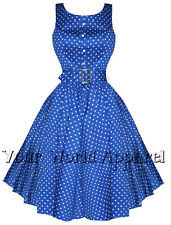 H&R BLUE POLKA DOT PINUP SWING 1950's HOUSEWIFE DRESS VINTAGE ROCKABILLY 9058