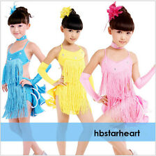 Fashion New Girls Blue Tassel Latin Dancing Dress Kid MultiLayer Dancewear Skirt