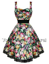 BLACK EXOTIC FLORAL PINUP SWING 50's DRESS VINTAGE ROCKABILLY H&R LONDON 9071
