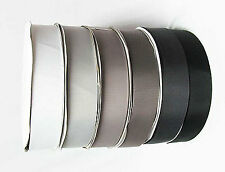 "Grosgrain Ribbon 1"" /25mm. per 5 Yards, white s Grey s Black s to Choose"
