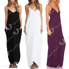 Cotton V Neckline All In One Beach Maxi Long Dress for Women Girl