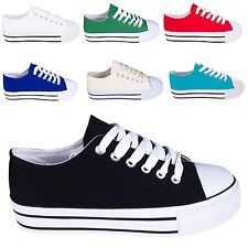 Women's Fashion Thick Chunky Platform Sole Canvas Low Top Trainer Shoes
