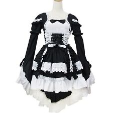 J498 BLACK DRESS GOTHIC LOLITA PUNK COSPLAY Tiered Layered COTTON LONG SLEEVES