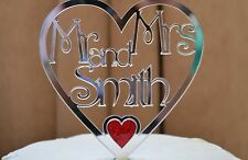New Personalised MR & MRS mirror acrylic heart with colour Wedding Cake Topper