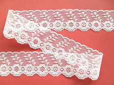 "~Pretty Ivory Delicate Tulle NOTTINGHAM Flower Lace 1.5""  Wedding/Baby/Cards/"