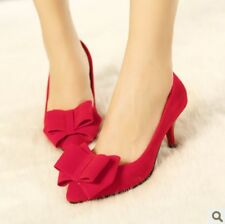 2014 New Spring Womens Faux Suede Pointy Toe Bowtie Low Heel Wedding Dress Shoes