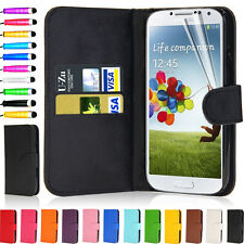Flip Wallet Leather Case Cover For Samsung Galaxy S4 i9500 + Film Screen Stylus