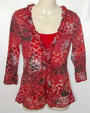 New Marks & Spencer Per Una red & grey printed tunic top size 8 -20 bnwot
