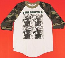 The SMITHS Camouflage Raglan T-shirt 3/4 Sleeve Meat Is Murder Morrissey S-XL