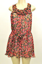 Nwt Womens Casual Chiffon Floral Summer Mini Dress Tunic Belt Vintage Boho Lined
