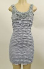 NWT Womens Sheer Chiffon Ruffle Sexy Summer Cocktail Mini Dress Gray