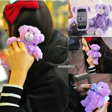 Cute 3D Lavender Bear Doll Toy Plush Case Cover For Apple Iphone Samsung Phones