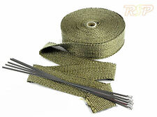 High Temp Titanium Exhaust Manifold Downpipe Heat Wrap rap & Stainless Steel tie