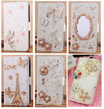 Hot Luxury Diamond 3D Bling Rhinestone Flip Wallet PU Leather Stand Case Cover